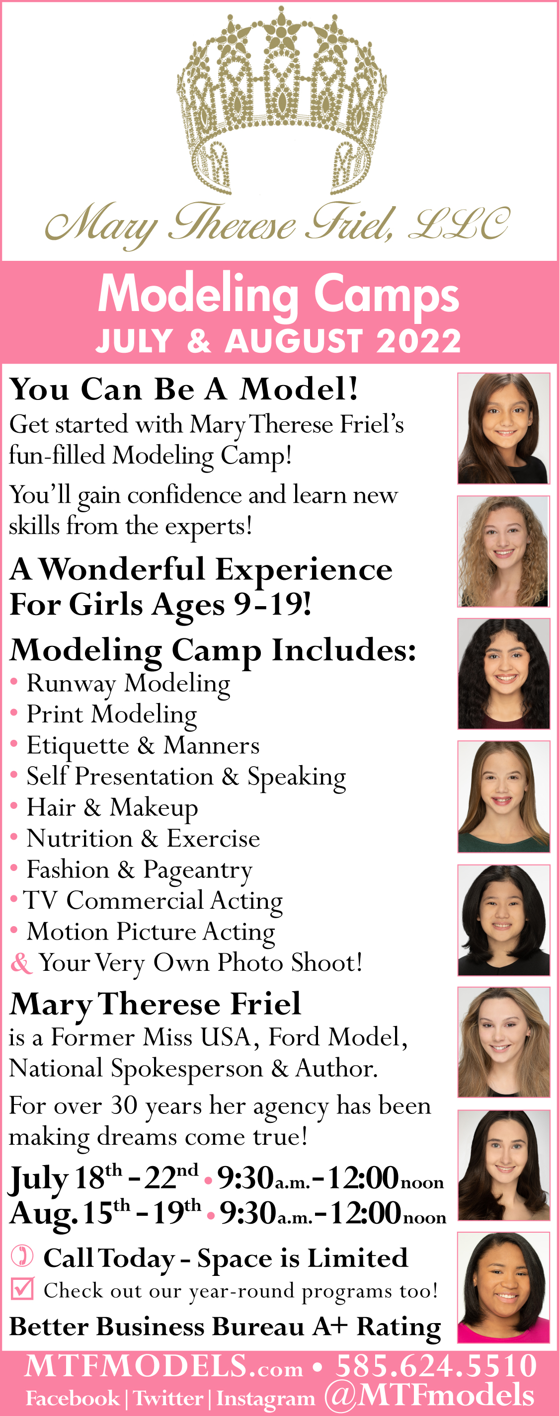 2016 Modeling Camp in Rochester NY at Mary Therese Friel, LLC